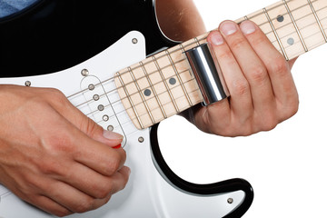 Guitar player performing song