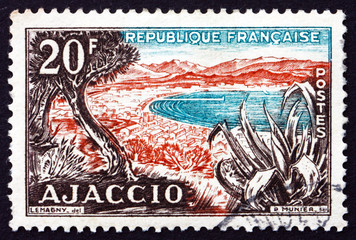Postage stamp France 1954 Beach, Gulf of Ajaccio