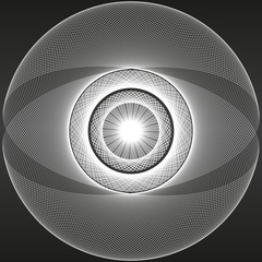 Abstract pattern eye figure - vector black background