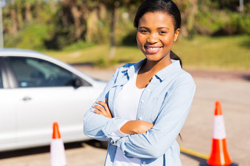 african student driver in testing ground