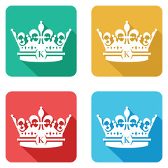 set of four colourful crown flat icons