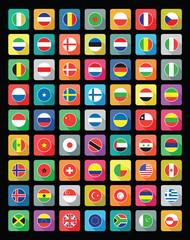 large set of colourful flat world flag icons