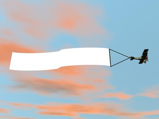 Biplane aircraft pulling advertisement banner - 3D render