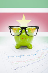 Piggy bank with flag on background - Republic of Suriname