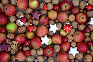 Hintergrund - Nüsse und Äpfel