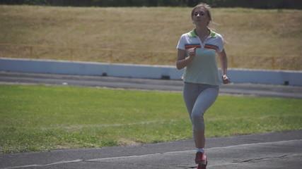 girl runs slowly, running slow motion