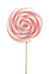 Spiral lollipop on white background