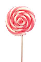 Spiral lollipop on white background