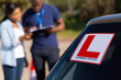 learner driver and instructor behind a car - 69857994