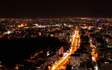Night and city lights. ( Konya-Turkey).