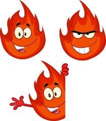 Flame Cartoon Mascot Character 7. Collection Set