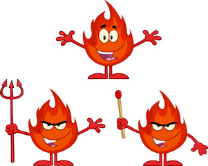 Flame Cartoon Mascot Character 1. Collection Set