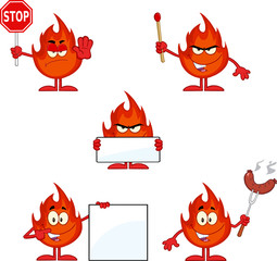 Flame Cartoon Mascot Character 4. Collection Set