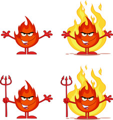 Flame Cartoon Mascot Character 5. Collection Set