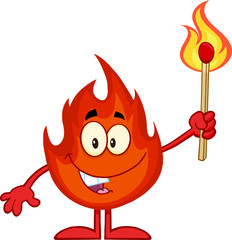 Happy Flame Cartoon Character Holding Up A Flaming Match Stick