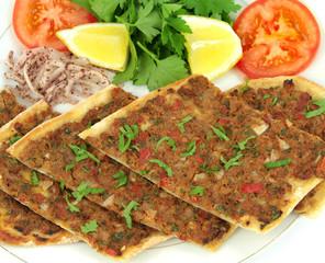 Turkish Pizza. Etli ekmek ( Lahmacun )