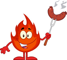 Happy Fire Cartoon Mascot Character With Sausage On Fork