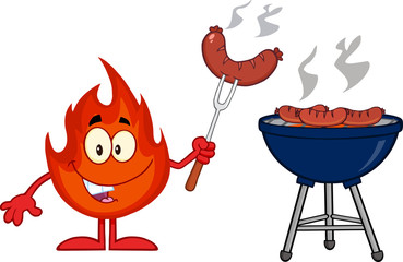 Happy Fire Character With Sausage On Fork Cook At Barbecue