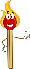 Burning Match Stick Cartoon Mascot Character Showing Thumbs Up