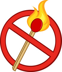 Stop Fire Sign With Burning Match Stick