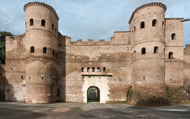 Porta Asinaria and guard Towers on the Rome walls