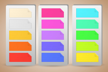 Colorful banner paper notes sticked on holders