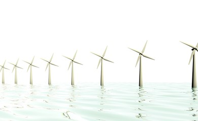 Windmolen park op zee - duurzaamheid en horizon vervuiling
