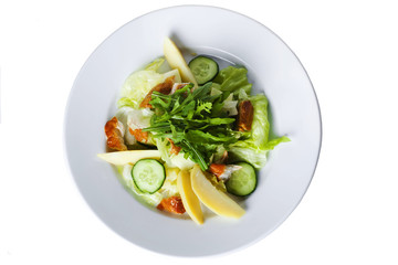 salad with smoked fish, iceberg lettuce and cucumbers