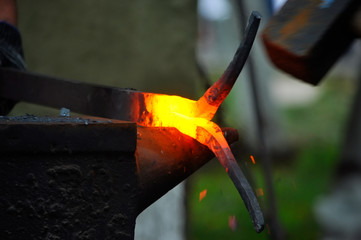 hot metal forging on the anvil
