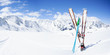 Skiing , mountains and ski equipments on ski run - 69859758