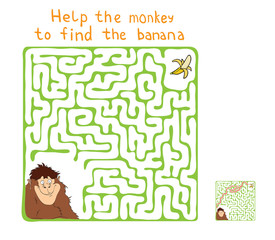 Vector Maze, Labyrinth with Monkey and Banana.