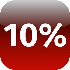 10 percent icon or button in red color