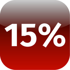 15 percent icon or button in red