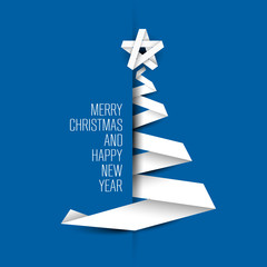 Simple blue vector card with christmas tree