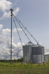 Modern Silver Farm Silo in the Country