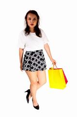 Girl caring shopping bag's.