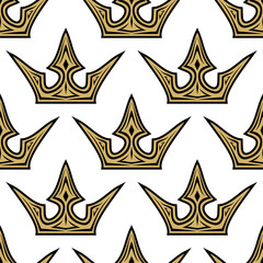 Seamless pattern of golden crowns