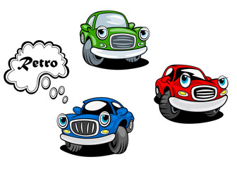 Retro cartoon cars characters