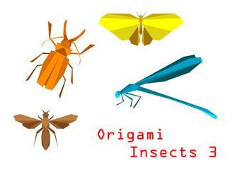 Origami paper insects