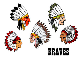 Indian brave chief portraits set