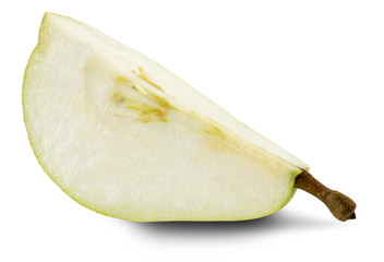 slice of pear isolated on the white background