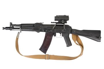 kalashnikov rifle with optic sight on white