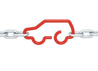 Red car symbol blocked with metal chains isolated