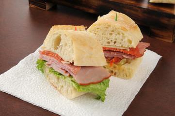 Italian cold cuts sandwich