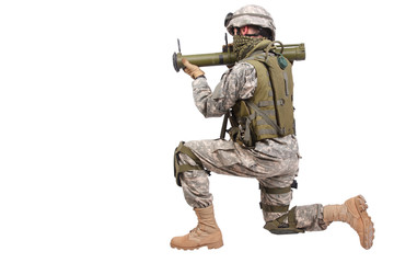 US soldier with anti-tank rocket launcher on white background