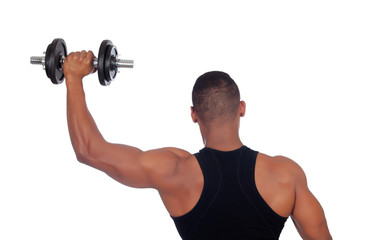 Muscled man back training with dumbbells