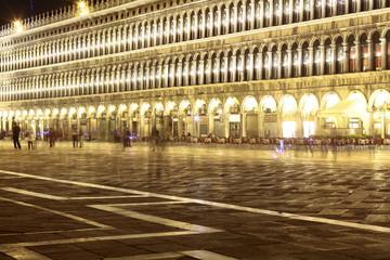 beautiful St Mark square at night, Venice, Italy