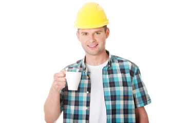 Worker on a break drink coffee
