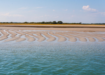 Tidal flow on Atlantic  linear sand flats in North Carolina