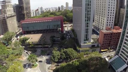 Aerial view for Paulista Avenue in Sao Paulo, Brazil